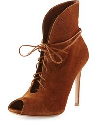 Gianvito Rossi Suede V-neck Lace-up Bootie - Lyst