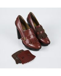 Paul Smith Rust Calf Leather Stevie Fringe Shoes - Red