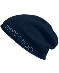 Jimmy Choo - Crystal Logo Knit Cap - Lyst