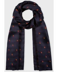Paul Smith Navy 'Palm Tree' Jacquard Silk-Blend Scarf - Lyst
