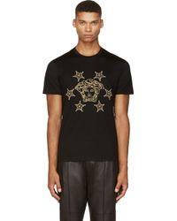 Versace Black Medusa and Star Embroidered T_shirt - Lyst