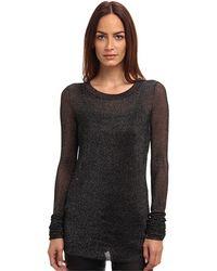 Vera Wang Ls Metallic Ribbed Sweater - Lyst