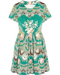 MSGM Printed Stretch-Cotton Faille Mini Dress - Lyst