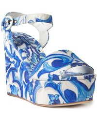 Dolce & Gabbana Majolica Wedge Sandals - Blue