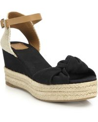 Tory Burch Knotted Canvas & Espadrille Wedge Sandals blue - Lyst