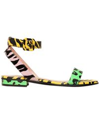 Moschino Cheap & Chic 20Mm Animalier Printed Leather Sandals - Lyst