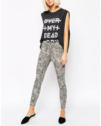 Cheap Monday Spray On Printed Ankle Skinny Jeans - Lyst