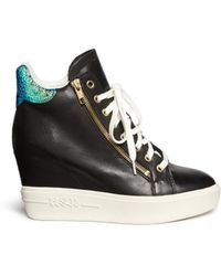Ash 'Atomic' Holographic Collar Leather Wedge Sneakers - Lyst