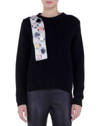 Fendi Crystal Fur Applique Cashmere Sweater black - Lyst