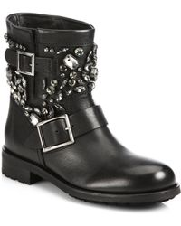 Jimmy Choo Crystal-Studded Leather Biker Boots - Lyst