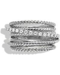 David Yurman Crossover Wide Ring with Diamonds - Lyst