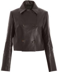 The Row Brikkin Button Leather Jacket - Lyst