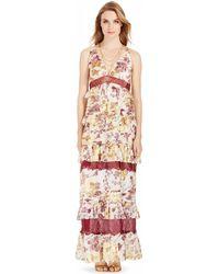 Diane von Furstenberg Dvf Karen Tiered Chiffon Gown purple - Lyst