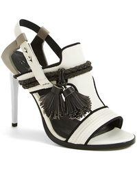 L.A.M.B. 'Voice' Leather T-Strap Sandal black - Lyst