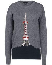 Burberry Prorsum Gray Cashmere Sweater - Lyst