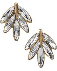 Sam Edelman Velvet Stone Feather Stud Earrings - Metallic