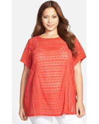 Lucky Brand Mixed Lace Top - Lyst