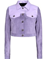 Burberry Prorsum Purple Leather Outerwear - Lyst