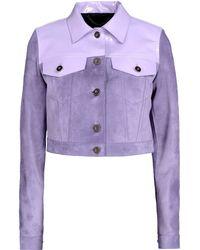 Burberry Prorsum Leather Outerwear purple - Lyst