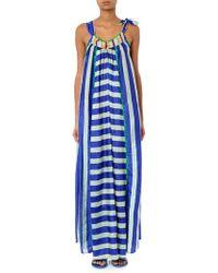 Easton Pearson Take Away Vana Striped Silk Maxi Dress - Blue