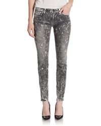 Current/Elliott The Ankle Distressed Snake Jeans - Lyst