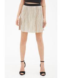 Forever 21 Pleated Metallic Mini Skirt - Lyst