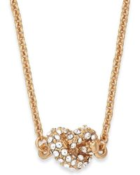 Kate Spade New York Gold-tone Crystal Knot Pendant Necklace - Lyst