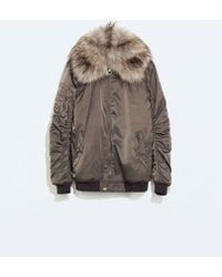 Zara Bomber Jacket with Fur Collar - Lyst