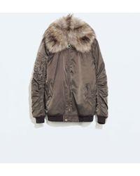 Zara Bomber Jacket with Fur Collar - Lyst