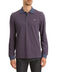 Lacoste Blue and Orange Striped Polo - Lyst