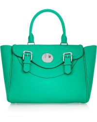 Hill & Friends - - Happy Satchel Textured-leather Tote - Emerald - Lyst