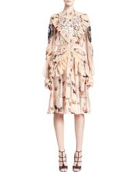 Givenchy Long Sleeve Butterfly Print Silk Dress - Lyst