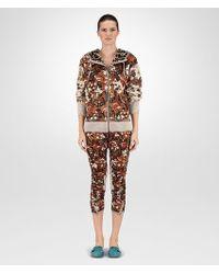 Bottega Veneta Hoodie In Multicolor Technical Fleece With Printed Shearling Details - Brown