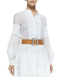 Michael Kors Band-collar Pleated Shirt - Lyst
