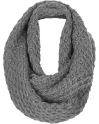 Topshop Womens Diamond Stitch Snood - Grey - Lyst