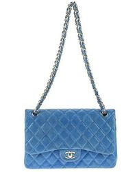 Chanel   Pre-owned: Iridescent Blue Double Jumbo Flap Bag   Lyst