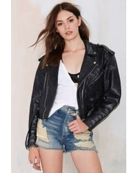 Nasty Gal Vintage Rough Rider Leather Moto Jacket - Lyst