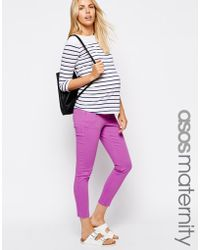 Asos Maternity Ridley Skinny Ankle Grazer Jean In Orchid With Under The Bump Waistband - Lyst