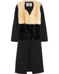 Topshop Unique - Shearling And Twill Coat - Lyst