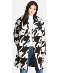 7 For All Mankind - Long Houndstooth Coat - Lyst