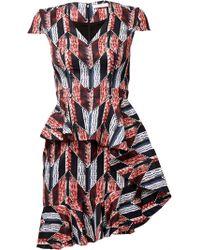 Matthew Williamson Graphic Patchwork Ruffle Mini Dress - Lyst