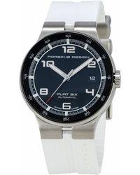 Porsche Design Flat Six Chronograph Watch W/ Rubber Strap - White