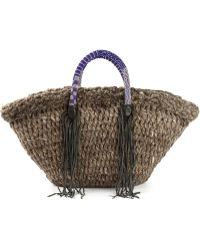 En Shalla - Fringed Knitted Shopper Tote - Lyst