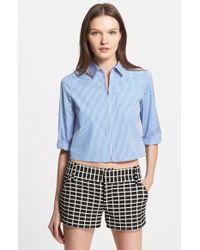 Alice + Olivia 'Diana' Stripe Crop Shirt - Lyst