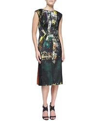 J. Mendel Abstract Print Dress with Lace Overlay - Lyst