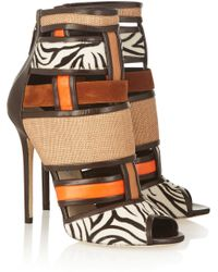 Brian Atwood - Irya Leather, Raffia And Calf Hair Ankle Boots - Lyst