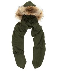 Charlotte Simone Racoon Fur Lined Hood in Army Green Cashmere