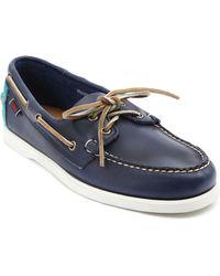 Sebago Horween Spinnaker Blue Twotone Leather Deck Shoes - Lyst