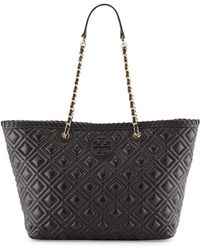 Tory Burch Marion Small Quilted Tote Bag Black - Lyst