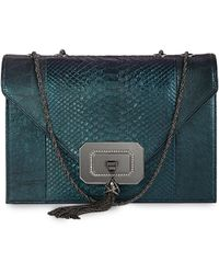 Marchesa Casati Large Python Shoulder Bag Teal - Lyst